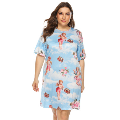Printed Home Wear Casual Short-sleeved Dress NSOY59410