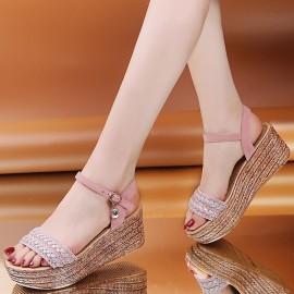 Bohemian Summer New High-heeled Wedge-heeled Shoes NSZSC59552