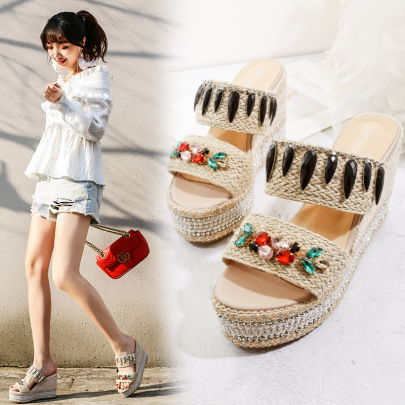 Twine Color Diamond Wedge Sandals NSSO59575