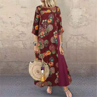 Summer New Fashion Printed Round Neck Cotton And Linen Bohemian Sleeve Dress NSSUO59728