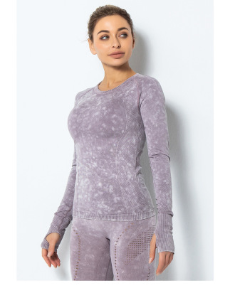 Long-sleeved Sports Nylon Knit Seamless Tight-fitting Fitness Shirt NSLUT59896