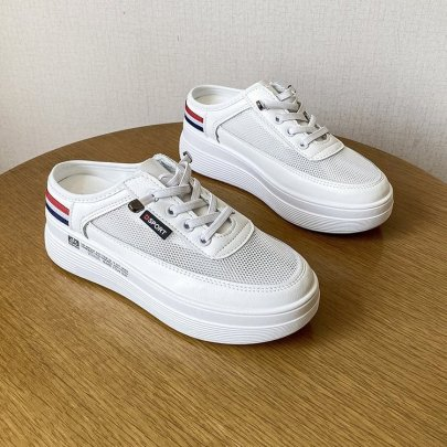 Versatile Non-heel Outer Wear Fashion Half Mesh Shoes NSTZY54755