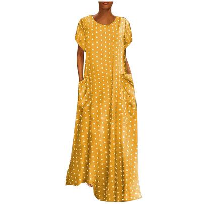 Fashion Polka Dot Round Neck Short Sleeve Long Dress  NSYIS54751