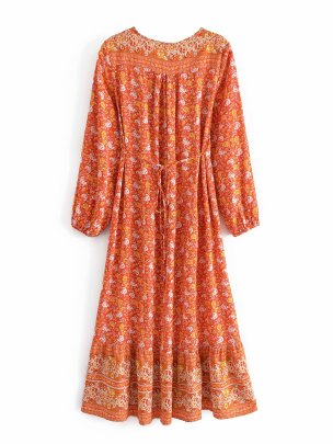 Retro Printed V-neck Long-sleeved Bohemian Loose Dress  NSAM54594