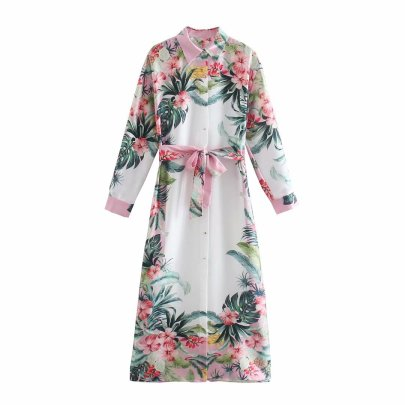 Lapel Long-sleeved Single Breasted Lace-up Printed Long Shirt Dress  NSAM54619