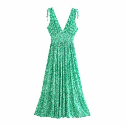 V-neck Drawstring High Waist Folds Flower Print Long Dress  NSAM54625