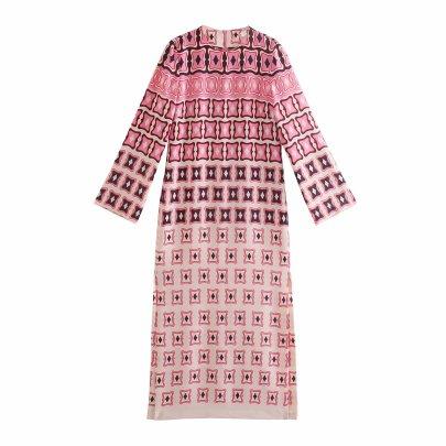 Printing Loose Round Neck Long-sleeved Split Midi Dress NSAM54633