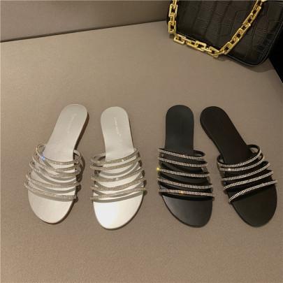 New Summer Rhinestone One-word Thin Strap Open-toed Flat Sandals  NSHU54689
