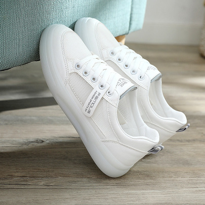 Small White Summer New Hollow Breathable Single Mesh Canvas Sports Sneakers NSNL54718