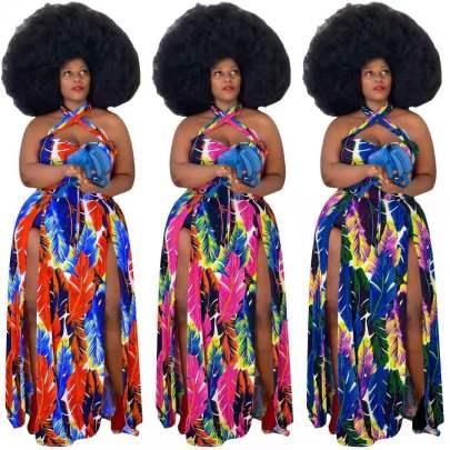 Spring New Plus Size Print Sexy Halter Neck Fashion Split Dress NSYMA55296