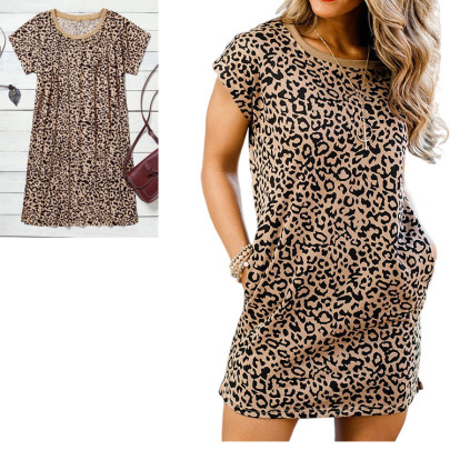 Spring New Plus Size Sexy Leopard Print Casual A-line Fashion Short-sleeved Dress NSYMA55302