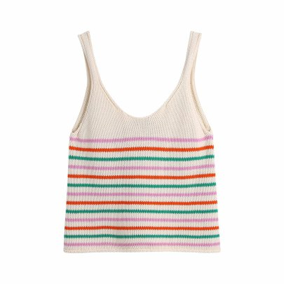 Spring Striped Knitted Women's Sling Top NSAM55333