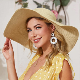New Light Board Solid Color Oversized Straw Hat NSTQ55461