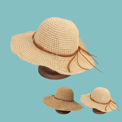 Leather Rope Big Eaves Sun-proof Straw Hat NSTQ55462
