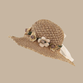 Summer Flower Ruffled Straw Hat NSTQ55464