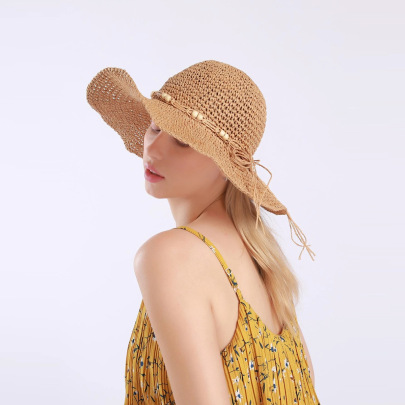 Fashion Wooden Bead Big Brimmed Straw Hat NSTQ55465