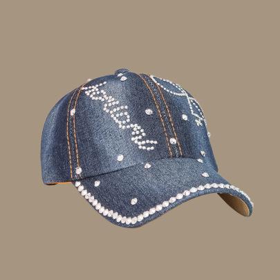 Letter Embroidered Blue Cowboy Baseball Cap NSTQ55475