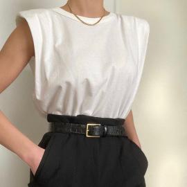 Sleeveless Shoulder Pads Loose Slim Vest NSFLY59965