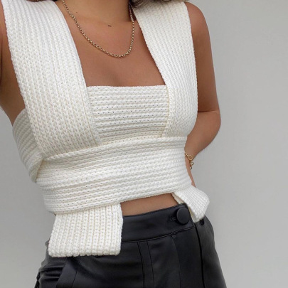 New Style Sexy Cross Knit Top NSFLY59985