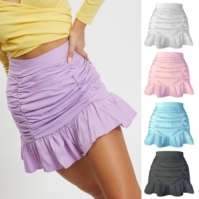 Solid Color Pleated Ruffled Zipper Skirt NSLDY60022