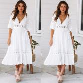 Vestido De Costura De Encaje Profundo V De Moda NSJRM60058