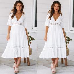 Fashion Deep V Lace Stitching Dress NSJRM60058