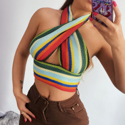Color Halter Sexy Slim Knit Cross-shirt Top NSFLY62128