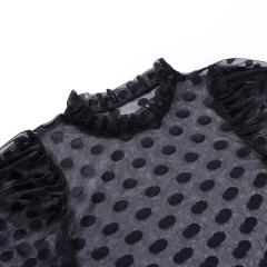 camisa de gasa con cuello alto NSYID62442