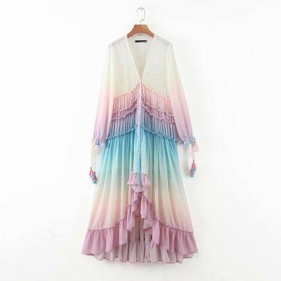 Deep V Long Sleeves Gradient Irregular Dress NSAM62390