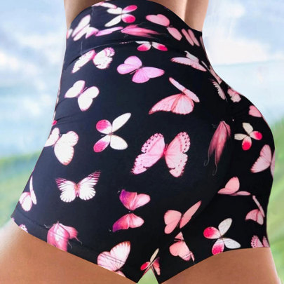 Tie-dye High Waist Hip Sports Fitness Shorts NSBTY62394
