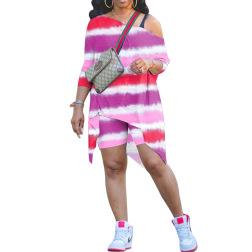 Hot Sale Casual Fashion Oblique Shoulder Irregular Printing Set NSWNY62244