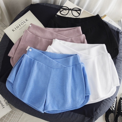 Summer Solid Color Belly Lift Maternity Shorts NSYAY62497
