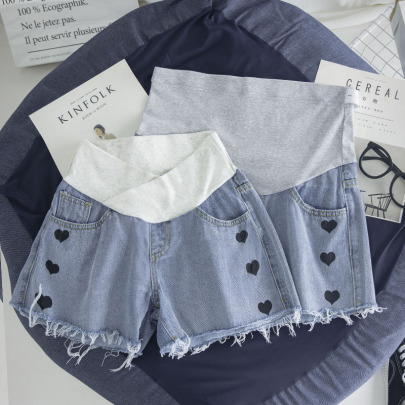 Summer Casual Love Belly Support Pregnant Denim Shorts NSYAY62495