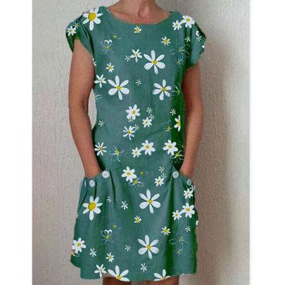 New Daisy Print Short Sleeve Pocket Dress NSJIM63078