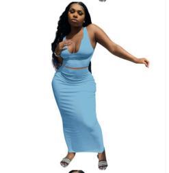 V-neck Camisole Suit Sleeveless Long Dress NSYF62640