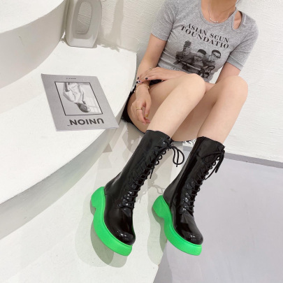 Knee Lace-up Knight Boots Patent Leather Platform High Boots NSCA62658