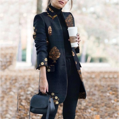 Fashion Printed Stand-up Collar Woolen Jacket  NSBTY62673