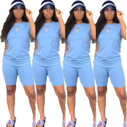 Solid Color Top & Shorts 2-piece Set NSBTY62687