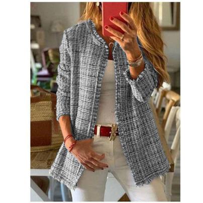 Rainbow Tweed Fragrant Mid-length Plaid Jacket  NSBTY62703