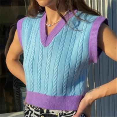 Retro V-neck Short Knitted Vest NSAC62910