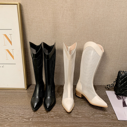 Stitching Mesh Mid-heeled Knee-length Boots NSCA62924