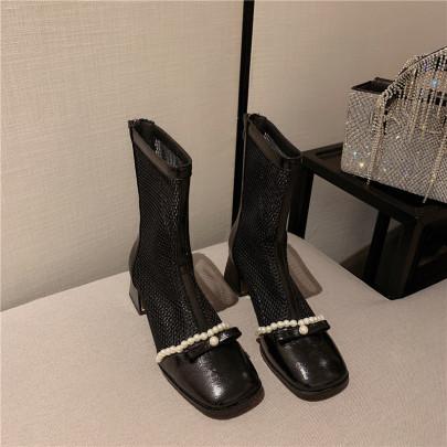 High-heeled Mesh Hollow Boots NSCA62931
