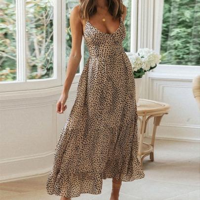 Summer New Sling Halter Lace Sexy Ruffle Dress NSYIS63061