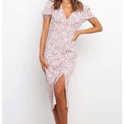 Spring And Summer New Floral V-neck Slim Short-sleeved Dress NSYIS63053