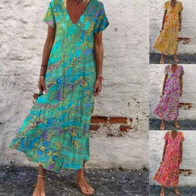 New Printed V-neck Short Sleeve Long Skirt NSYID63784