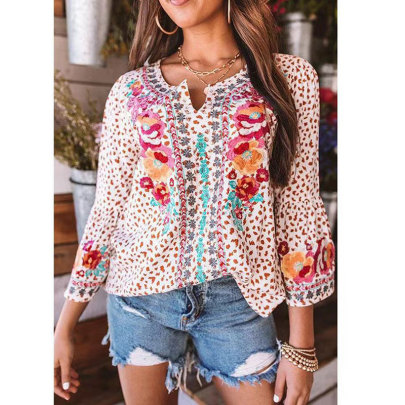 New Loose Print T Long Sleeve V-neck Shirt  NSJIM63050