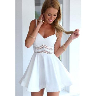 New Lace Stitching Sling Sleeveless Hollow Dress NSJIM63049