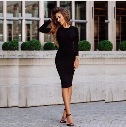New Hot Style Long-sleeved Solid Color Dress NSYKD62969