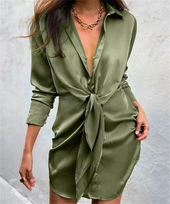 Irregular Cross Folds Lace Silk Satin Dress NSAC62981