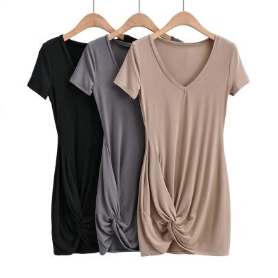 Cross Folds V-neck Slim Bag Hip Skirt NSAC62987
